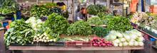 Fresh Green Vegetables And Roots In Carmel Market Tel Aviv