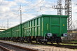 Burgas, Bulgaria - March 20, 2017 - Freight cargo train - 4axled box wagon green Type:Eanos Model:155-1 - Transvagon AD