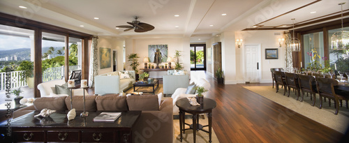 Interior contemporary great room with hardwood floors