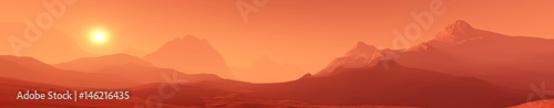 Photo sur Toile Orange eclat Landscape of Mars, Martian panorama, panorama of Mars, mountain landscape