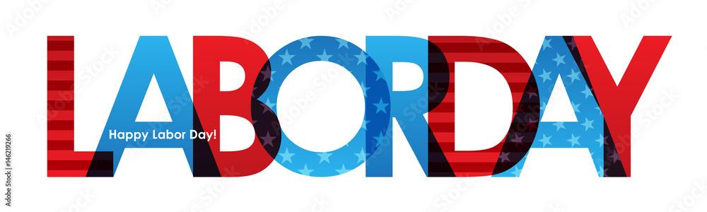 Fototapeta LABOR DAY Banner with American Flag
