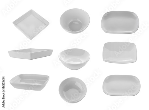 Fototapeta white ceramics plate and bowl isolated on white background obraz na płótnie