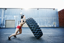 Caucasian Woman Working Out Wi...