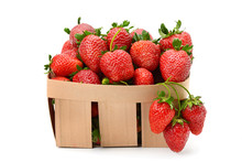 Strawberry In Basket Isolated On White