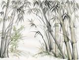Oryginalne akwarele z bambusowego lasu na papierze z fakturą. - 146226690