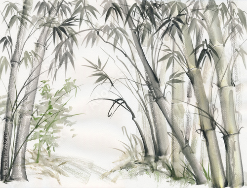 original-watercolor-painting-of-bamboo-forest-on-textured-paper