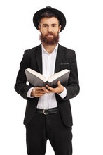 Religious Man Holding A Holy Book