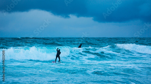 Training surfers in cold waters of Lofotens - Buy this stock