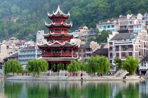 Tuinposter China Zhenyuan Ancient Town on Wuyang river in Guizhou Province, China