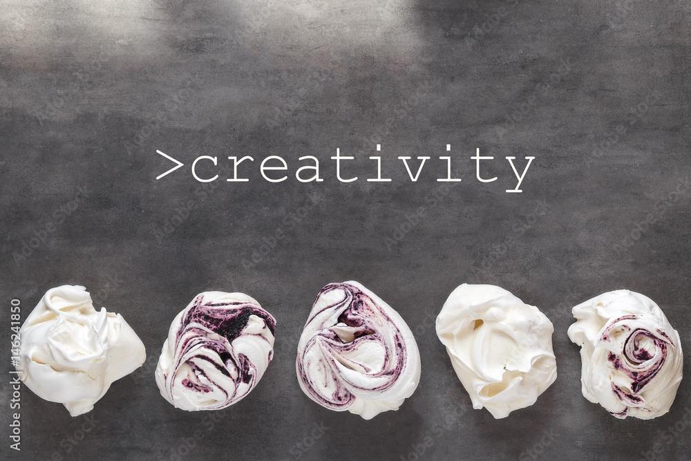 Fototapety, obrazy: White and purple swirl meringues on gray background