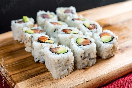 Japanese food Sushi Roll Maki of Salmon and avocado Canvas