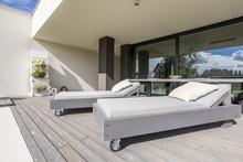 Sun Lounger On Terrace