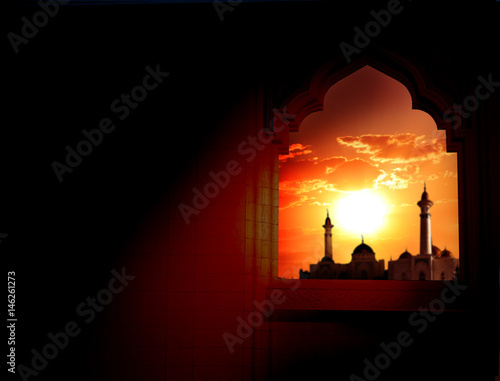 Photo  Ramadan Kareem background.Mosque window