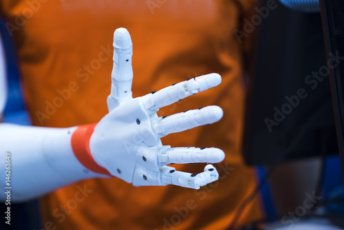 plastic robot hand with open palm gesture Canvas Print