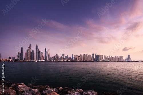 Spoed Foto op Canvas Dubai panorama of skyscrapers in Dubai Marina, sunset time, UAE