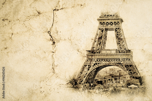 Eiffel Tower in Paris. Vintage view background. Tour Eiffel old retro style photo with cracks crumpled paper.