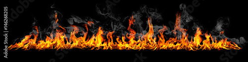 Fire panorama on a black background.