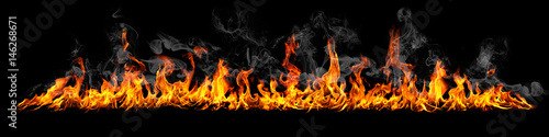 Foto op Canvas Vuur Fire panorama on a black background.