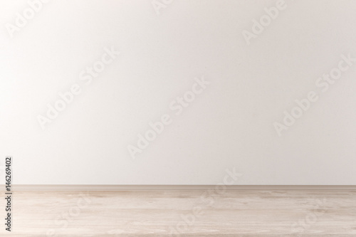 Spoed Foto op Canvas Wand Interior with light wall and wooden floor