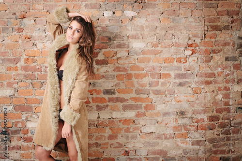 Fototapeta Sexy Girl in Panties and Fur Coat
