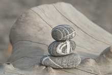 Stack Of Three Stripy Pebbles ...