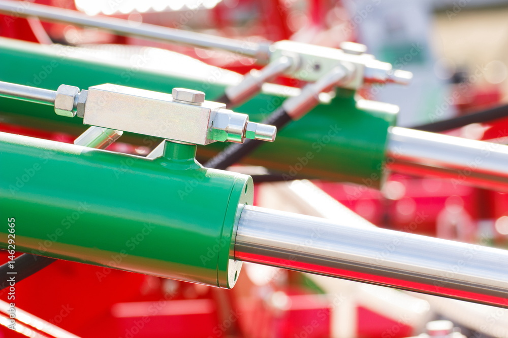 Valokuva Detail of pneumatic or hydraulic machinery, technology and engineering concept