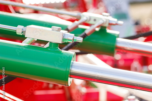 Fotografia, Obraz  Detail of pneumatic or hydraulic machinery, technology and engineering concept