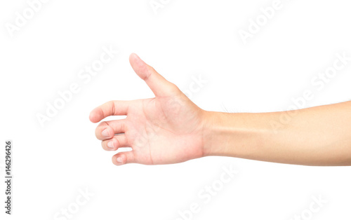 Hand holding something on white background