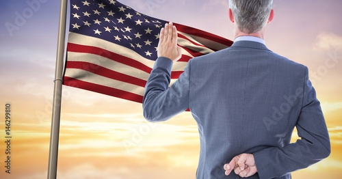 pledge allegiance to the flag with the fingers crossed Wallpaper Mural