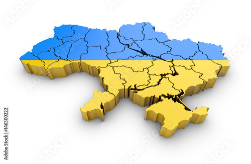 Map of Ukraine with flag and shadow on white background Canvas Print