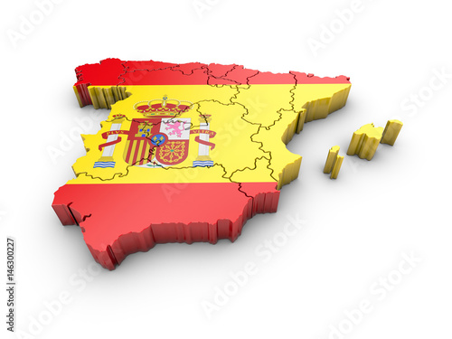 Map of Spain with flag and shadow on white background Canvas Print