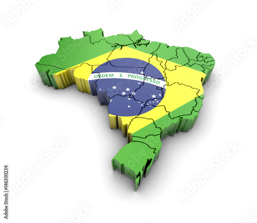 Photo  Brazil map with flag and shadow on white background