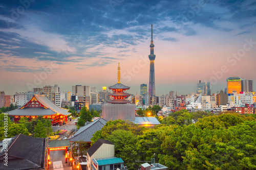 Printed kitchen splashbacks Tokyo Tokyo. Cityscape image of Tokyo skyline during twilight in Japan.