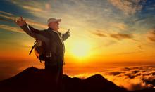 Old Senior Man Hiking Successf...