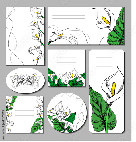 Photo Floral spring summer templates invitations or greeting card, poster, advertising banner, wedding or romantic occasion with hand drawn ink calla lily flower in white and green leaf colors