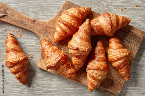 Canvas Print freshly baked croissants
