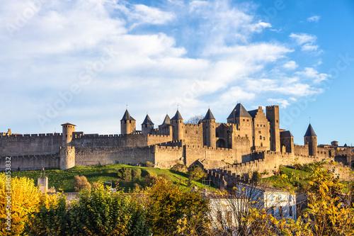 Cité de Carcassonne vue du pont neuf,Languedoc-Roussillon, Aude, Occitanie, Fran Canvas Print
