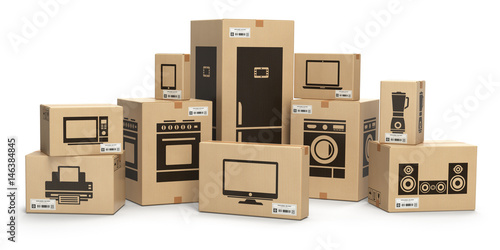 Fotografía  Household kitchen appliances and home electronics in boxes isolated on white