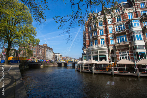 Photo  Canal in centre of Amsterdam, Netherlands.