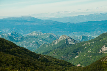 Montenegro mountains, view of rocky green hills