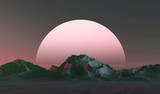 3D illustration - Low poly mountains landscape at sunset - 146436623