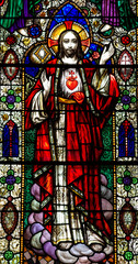 Naklejka Witraże sakralne Jesus Christ with the Sacred Heart (stained glass)