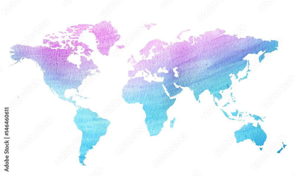 akwarela mapa świata <span>plik: #146460611 | autor: childrendrawings</span>
