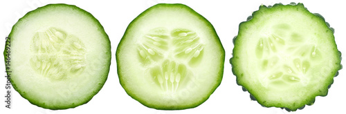 Door stickers Fresh vegetables Three kinds of cucumbers, fresh juicy slices cucumber on a white background, isolated