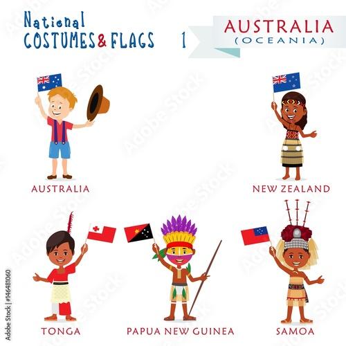 Fotografia, Obraz  National costumes and flags of the world - Australia and Oceania