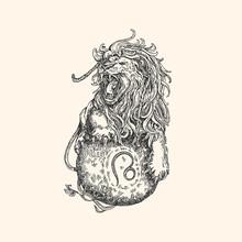 Vintage Sign Of Zodiac. Leo. Vector Illustration.