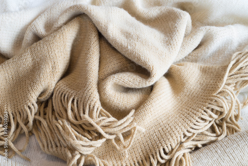 Photo  Soft Neutral Fabric Blanket Pile Background