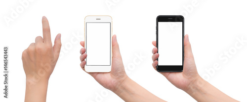 Fényképezés  Close-up image of two human hand holding black and white blank screen smartphone