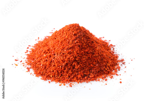 Photo Stands Hot chili peppers Cayenne pepper on white background
