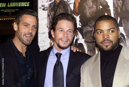 Actors George Clooney L Mark Wahlberg C And Ice Cube